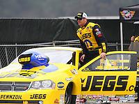Feb 9, 2014; Pomona, CA, USA; NHRA pro stock driver Jeg Coughlin Jr during the Winternationals at Auto Club Raceway at Pomona. Mandatory Credit: Mark J. Rebilas-