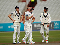 6th July 2021; Emirates Old Trafford, Manchester, Lancashire, England; County Championship Cricket, Lancashire versus Kent, Day 3; First blood of the day to Kent as Darren Stevens celebrates taking the wicket of Steven Croft of Lancashire, bowled for 13, and Lancashire are 117-6