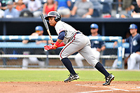 Rome Braves left fielder Randy Ventura (11) swings at a pitch during a game against the Asheville Tourists at McCormick Field on July 27, 2017 in Asheville, North Carolina. The Braves defeated the Tourists 6-3. (Tony Farlow/Four Seam Images)