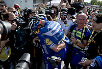 Post-race joy for Julian Alaphilippe (FRA/Deceuninck - Quick-Step) who wins Stage 3 from Binche (BEL) to Épernay (FRA) (214km) & becomes the new GC-leader (thus: yellow jersey!)<br /> <br /> 106th Tour de France 2019 (2.UWT)<br /> <br /> ©kramon