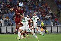12th September 2021; Olimpico Stadium, Rome, Italy; Serie A championship football, AS Roma versus US Sassulo ; Roger Ibanez of As Roma and Giacomo Raspadori of US Sassuolo