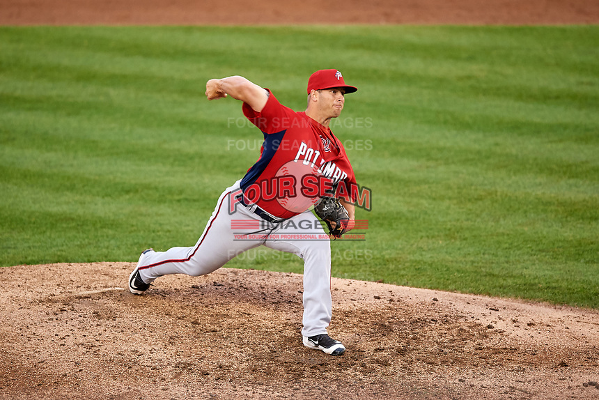 Potomac Nationals relief pitcher Jeremy McKinney (30) delivers a pitch during the first game of a doubleheader against the Salem Red Sox on June 11, 2018 at Haley Toyota Field in Salem, Virginia.  Potomac defeated Salem 9-4.  (Mike Janes/Four Seam Images)