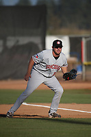 David Jacob (23) of the Vancouver Canadians in the field at first base during a game against the Salem-Keizer Volcanoes at Volcanoes Stadium on July 24, 2017 in Keizer, Oregon. Salem-Keizer defeated Vancouver, 4-3. (Larry Goren/Four Seam Images)
