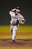Pitcher Michael Horrell (26) of the Asheville Tourists in a game against the Greenville Drive on Tuesday, June 1, 2021, at Fluor Field at the West End in Greenville, South Carolina. (Tom Priddy/Four Seam Images)