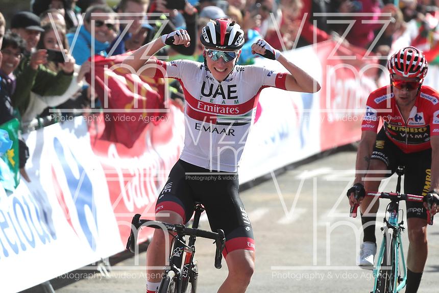 ESPAÑA, 06-09-2019: Tadej Pogacar (SLO - UAE Team Emirates) celebra después de ganar la etapa 13, hoy, 06 de septiembre de 2019, que se corrió entre Bilbao y Los Machucos. Monumento Vaca Pasiega con una distancia de 166,4 km como parte de La Vuelta a España 2019 que se disputa entre el 24/08 y el 15/09/2019 en territorio español. / Tadej Pogacar (SLO - UAE Team Emirates) celebrates after winning stage 13 today, September 06, 2019, from Bilbao to Los Machucos. Monumento Vaca Pasiega with a distance of 166,4 km as part of Tour of Spain 2019 which takes place between 08/24 and 09/15/2019 in Spain.  Photo: VizzorImage / Luis Angel Gomez / ASO.  Photo: VizzorImage / Luis Angel Gomez / ASO<br /> VizzorImage PROVIDES THE ACCESS TO THIS PHOTOGRAPH ONLY AS A PRESS AND EDITORIAL SERVICE AND NOT IS THE OWNER OF COPYRIGHT; ANOTHER USE HAVE ADDITIONAL PERMITS AND IS  REPONSABILITY OF THE END USER