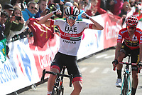 ESPAÑA, 06-09-2019: Tadej Pogacar (SLO - UAE Team Emirates) celebra después de ganar la etapa 13, hoy, 06 de septiembre de 2019, que se corrió entre Bilbao y Los Machucos. Monumento Vaca Pasiega con una distancia de 166,4 km como parte de La Vuelta a España 2019 que se disputa entre el 24/08 y el 15/09/2019 en territorio español. / Tadej Pogacar (SLO - UAE Team Emirates) celebrates after winning stage 13 today, September 06, 2019, from Bilbao to Los Machucos. Monumento Vaca Pasiega with a distance of 166,4 km as part of Tour of Spain 2019 which takes place between 08/24 and 09/15/2019 in Spain.  Photo: VizzorImage / Luis Angel Gomez / ASO.  Photo: VizzorImage / Luis Angel Gomez / ASO<br /> VizzorImage PROVIDES THE ACCESS TO THIS PHOTOGRAPH ONLY AS A PRESS AND EDITORIAL SERVICE AND NOT IS THE OWNER OF COPYRIGHT; ANOTHER USE HAVE ADDITIONAL PERMITS AND IS  REPONSABILITY OF THE END USER