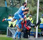 Andrew Considine celebrates his goal for Aberdeen with Graeme Shinnie