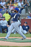 Pensacola Blue Wahoos third baseman Rey Navarro #1 swings at a pitch during the Southern League Home Run Derby at Engel Stadium on June 16, 2014 in Chattanooga, Tennessee.  (Tony Farlow/Four Seam Images)