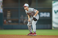 Oklahoma Sooners second baseman Logan Kohler (13) on defense against the LSU Tigers in game seven of the 2020 Shriners Hospitals for Children College Classic at Minute Maid Park on March 1, 2020 in Houston, Texas. The Sooners defeated the Tigers 1-0. (Brian Westerholt/Four Seam Images)