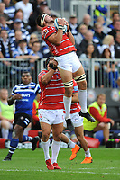 Lewis Ludlow of Gloucester Rugby is lifted by James Hanson of Gloucester Rugby to collect the re-start ball during the Gallagher Premiership Rugby match between Bath Rugby and Gloucester Rugby at The Recreation Ground on Saturday 8th September 2018 (Photo by Rob Munro/Stewart Communications)
