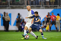 Houston, TX - Tuesday June 21, 2016: Michael Bradley, Lionel Messi during a Copa America Centenario semifinal match between United States (USA) and Argentina (ARG) at NRG Stadium.