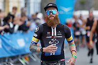 Pictured: A bearded Marathon runner on the Esplanade, Tenby. Sunday 15 September 2019<br /> Re: Ironman triathlon event in Tenby, Wales, UK.