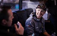 Matteo TRENTIN (ITA/Mitchelton-Scott) & former Roubaix winner (now DS) Mathew Hayman pleasantly exchanging ideas pre-race<br /> <br /> 117th Paris-Roubaix 2019 (1.UWT)<br /> One day race from Compiègne to Roubaix (FRA/257km)<br /> <br /> ©kramon