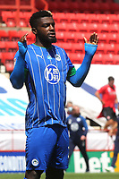 Cedric Kipre of Wigan Athletic ahead of kick-off during Charlton Athletic vs Wigan Athletic, Sky Bet EFL Championship Football at The Valley on 18th July 2020