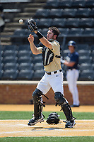 Wake Forest Demon Deacons catcher Ben Breazeale (39) fields a throw at home plate during the game against the Pittsburgh Panthers at David F. Couch Ballpark on May 20, 2017 in Winston-Salem, North Carolina. The Demon Deacons defeated the Panthers 14-4.  (Brian Westerholt/Four Seam Images)