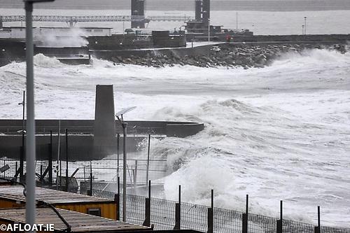 Big waves at Dun Laoghaire Baths on Dublin Bay