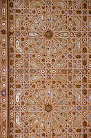 Meknes, Morocco.  Geometric Ceiling Decoration, Mausoleum of Moulay Ismail.