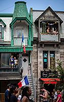 Les fans celebrent la victoire de la France lors du Mondial 2018, dans les rues de Montreal.<br /> <br /> PHOTO : Andre Boucher - Agence Quebec Presse