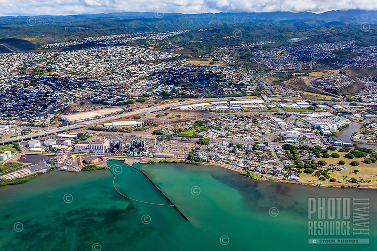 An aerial view of East Loch Pearl Harbor, Pearl City, O'ahu.