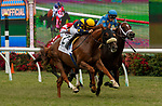 DEL MAR, CA  JULY 24:  #2 United, ridden by Flavien Prat, battles <br /> #6 Smooth Like Strait, ridden by Umberto Rispoli, in the stretch of the Eddie Read Stakes (Grade ll) on July 24, 2021, at Del Mar Thoroughbred Club in Del Mar, CA.  (Photo by Casey Phillips/Eclipse lSportswire/CSM)