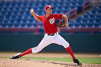 Washington Nationals pitcher Kyle Simonds (43) during an Instructional League game against the Atlanta Braves on September 30, 2016 at Space Coast Stadium in Melbourne, Florida.  (Mike Janes/Four Seam Images)