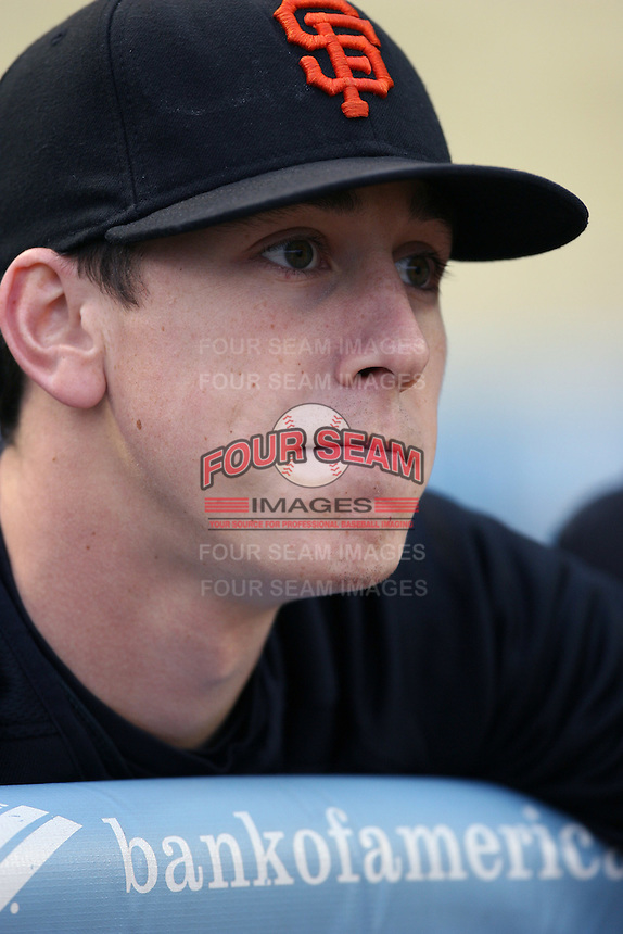Tim Lincecum of the San Francisco Giants during batting practice before a game from the 2007 season at Dodger Stadium in Los Angeles, California. (Larry Goren/Four Seam Images)