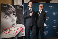 MANU PAYET, ALAIN TERZIAN - CONFERENCE DE PRESSE DES CESAR AU FOUQUET'S A PARIS, FRANCE, LE 31/01/2018.