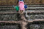 Yaya Balde tiene 60 años y reside en Ga Santim, un pueblo situado en la región de Bafatá, al norte de Guinea Bissau. Está casada con Umaru Balde, de 76 años, que practica la poligamia y tiene una segunda esposa, Uma Djou. Yaya ha tenido nueve hijos, de los que viven cinco. En la aldea, las condiciones de vida son muy humildes: la alimentación está basada principalmente en el arroz y los chamizos no disponen de agua corriente o luz eléctrica. Yaya se levanta a las cinco de la mañana y, después de la higiene personal, hace el primer rezo musulmán del día. Después ocupa toda su jornada en diferentes labores.<br />  En África, las mujeres soportan la mayor parte de los trabajos. Ellas se encargan de todas las tareas domésticas, entre las que se incluyen recoger leña en el bosque, dar de comer a los animales, sacar agua en el pozo, moler el cereal de manera tradicional, cuidar de los niños, hacer la comida y mantener limpias las casas. 25 enero 2014. (c) Pedro ARMESTRE<br /> Yaya Balde is 60 years old and lives in Ga Santim, a small town in the north of Guinea Bissau. She is married with 76-year-old Umaru Balde, who practises the poligamy and has a second wife, Uma Djou. Yaya has had nine children, of whom five are alive. In the village, the living conditions are very humble: the supply is based principally on the rice and the houses don´t have current water or electrical light. Yaya gets up at five o'clock in the morning and, after the personal hygiene, does the first muslim prayer of the day. Later, she occupies all her day in different labors. In Africa, the women support most of the works. They take charge of all the domestic tasks: to gather fuelwood in the forest, to feed to the animals, to extract water in the well, to grind the cereal of a traditional way, to take care of the children, to do the food and to keep the houses clean. 25 enero 2014. (c) Pedro ARMESTRE
