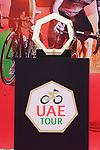 The trophy on display at sign on before the start of Stage 5 of the 2021 UAE Tour running 170km from Fujairah to Jebel Jais, Fujairah, UAE. 25th February 2021.  <br /> Picture: Eoin Clarke   Cyclefile<br /> <br /> All photos usage must carry mandatory copyright credit (© Cyclefile   Eoin Clarke)