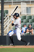 Jameson Fisher (11) of the Kannapolis Intimidators follows through on his swing against the Lakewood BlueClaws at Kannapolis Intimidators Stadium on April 9, 2017 in Kannapolis, North Carolina.  The BlueClaws defeated the Intimidators 7-1.  (Brian Westerholt/Four Seam Images)