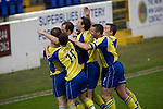 Chester City 1 Altrincham 3, 21/11/2009. Deva Stadium, Football Conference. Altrincham players celebrating their club's opening goal at the Deva Stadium, Chester, home of Chester City Football Club, during the club's Blue Square Premier fixture against Chester rivals Chester City. The visitors won by three goals to one. Chester were in administration at the start of the season and were penalised 25 points before the season began. Photo by Colin McPherson.