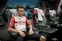 Tosh Van der Sande (BEL/Lotto-Soudal) on the teambus at the stage start, prepping for Stage 14: San Vicente de la Barquer to Oviedo (188km)<br /> <br /> La Vuelta 2019<br /> <br /> ©kramon