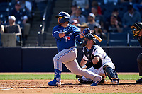 Toronto Blue Jays Alejandro Kirk (85) bats during a Spring Training game against the New York Yankees on February 22, 2020 at the George M. Steinbrenner Field in Tampa, Florida.  (Mike Janes/Four Seam Images)