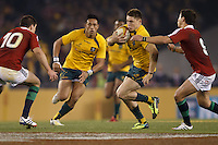 MELBOURNE, 29 JUNE 2013 - James O'CONNOR of the Wallabies runs with the ball during the Second Test match between the Australian Wallabies and the British & Irish Lions at Etihad Stadium on 29 June 2013 in Melbourne, Australia. (Photo Sydney Low / sydlow.com)