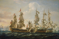 The 'Captain' capturing the 'San Nicolas' and the 'San José' at the Battle of Cape St Vincent, 14 February 1797 An incident during the French Revolutionary War, 1793-1802.