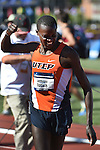 12 JUNE 2015: Anthony Rotich of UTEP celebrates after winning the NCAA Championship in the Men's 3000 meter Steeplechase during the Division I Men's and Women's Outdoor Track & Field Championship held at Hayward Field in Eugene, OR. Rotich won the event in a time of 8:33.90 Steve Dykes/ NCAA Photos
