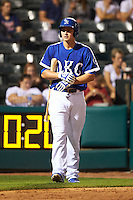 Oklahoma City Dodgers shortstop Corey Seager (18) walks to the plate during a game against the Fresno Grizzles on June 1, 2015 at Chickasaw Bricktown Ballpark in Oklahoma City, Oklahoma.  Fresno defeated Oklahoma City 14-1.  (Mike Janes/Four Seam Images)