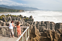 Two women at Pancake Rocks in Punakaiki - Paparoa National Park, West Coast, New Zealand