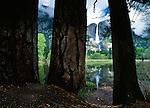 Yosemite Falls reflected in Merced River, Yosemite National Park, California
