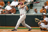 Outfielder Max White #7 of the Oklahoma Sooners homers against the Texas Longhorns in NCAA Big XII baseball on May 1, 2011 at Disch Falk Field in Austin, Texas. (Photo by Andrew Woolley / Four Seam Images)