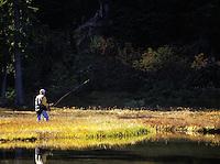 Man fly fishing subalpine lake, Grace Lakes, Stevens Pass, Cascade Mountains, Washington