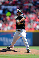 Miami Marlins pitcher Tom Koehler #34 during a game against the Cincinnati Reds at Great American Ball Park on April 20, 2013 in Cincinnati, Ohio.  Cincinnati defeated Miami 3-2 in 13 innings.  (Mike Janes/Four Seam Images)