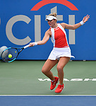 August 3,2019:   Caty McNally (USA) loses to Camila Giorgi (ITA) 7-6, 6-2, at the CitiOpen being played at Rock Creek Park Tennis Center in Washington, DC, .  ©Leslie Billman/Tennisclix/CSM