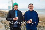 Ronan Shanahan (left) and John O'Connor enjoying their cuppa after their swim in Banna beach on Sunday.