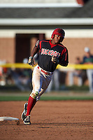 Batavia Muckdogs outfielder Stone Garrett (11) runs the bases after hitting a home run during a game against the Vermont Lake Monsters August 9, 2015 at Dwyer Stadium in Batavia, New York.  Vermont defeated Batavia 11-5.  (Mike Janes/Four Seam Images)