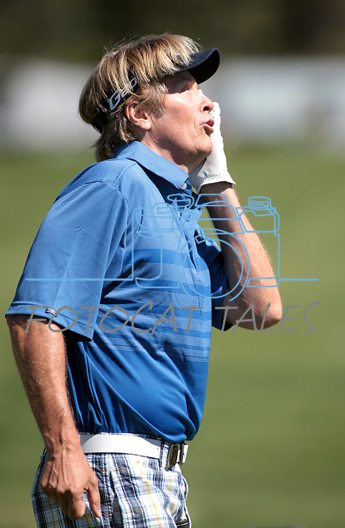 Jack Wagner jokes around on the driving range before a practice round at the American Century Championship golf tournament at Edgewood Tahoe at Stateline, Nev., on Wednesday, July 18, 2012..Photo by Cathleen Allison