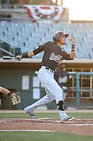 Victor Reyes (5) of the Visalia Rawhide bats against the Lancaster JetHawks at The Hanger on July 6, 2016 in Lancaster, California. Lancaster defeated Visalia, 10-7. (Larry Goren/Four Seam Images)
