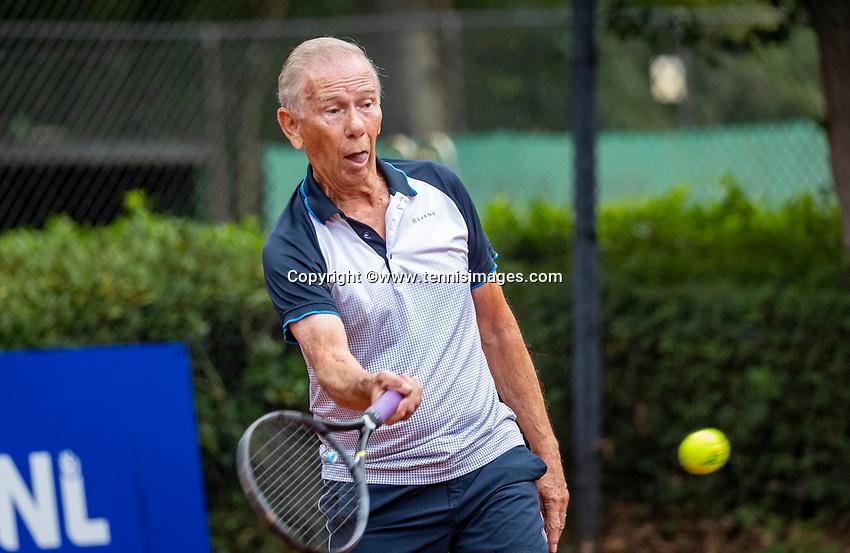 Hilversum, The Netherlands,  August 18, 2020,  Tulip Tennis Center, NKS, National Senior Championships, Men's single 80+   Jack Leonhart  (NED) <br /> Photo: www.tennisimages.com/Henk Koster