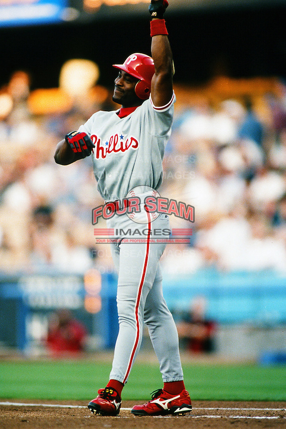 Ron Gant of the Philadelphia Phillies during a game against the Los Angeles Dodgers at Dodger Stadium circa 1999 in Los Angeles, California. (Larry Goren/Four Seam Images)