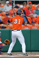 Virginia Cavaliers right fielder Joe McCarthy #31 awaits a pitch during a game against the Clemson Tigers at Doug Kingsmore Stadium on March 15, 2013 in Clemson, South Carolina. The Cavaliers won 6-5.(Tony Farlow/Four Seam Images).
